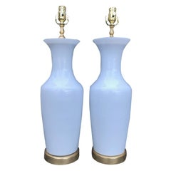 Pair of Large White Glass Lamps, Possibly Venetian Murano, circa 1960