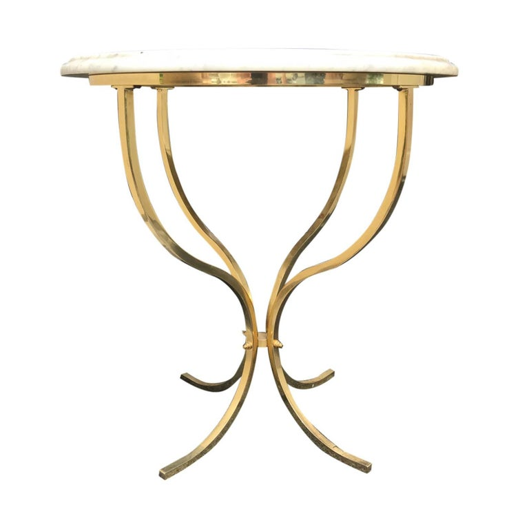 Brass Marble-Top Table, Attributed to Paul McCobb, circa 1970s