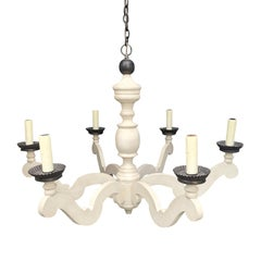 20th Century Custom Painted Six-Arm Chandelier