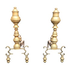 Pair of 18th-19th Century Georgian Style Andirons