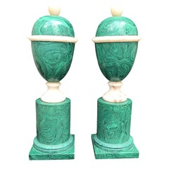 20th Century Pair of Malachite Marble Urns