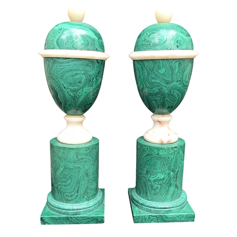 20th Century Pair of Malachite Marble Urns