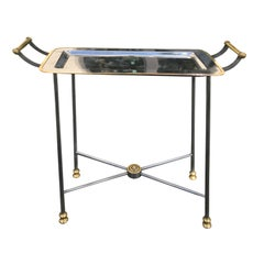 20th Century Small Steel and Brass Tray Side Table