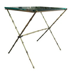 Brass Glass Top Table with Bamboo Motif After Maison Bagues, Possibly French