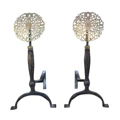 Pair of American circa 1890-1900 Brass and Iron Medallion Andirons