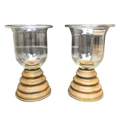 Pair of 20th Century Large Glass and Wooden Photophores