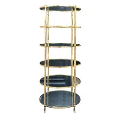 20th Century Italian Tall Brass Oval Étagère, in the Style of Baguès