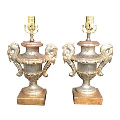 Pair of 18th Century Gilded Italian Neoclassical Urns as Lamps