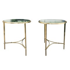 Pair of Midcentury Bronze / Glass Gueridon Tables, Clean Lines