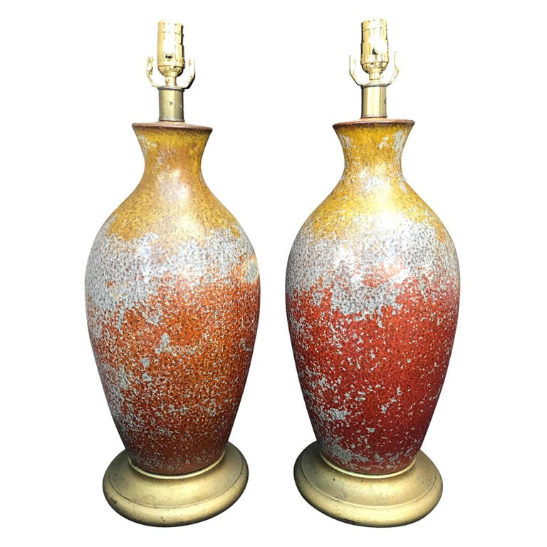 Pair of 1950s Beautifully Glazed Art Pottery Lamps with Original Bases