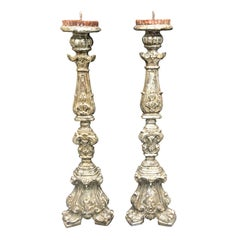 Pair of 19th Century Large Italian Carved Giltwood Pricket