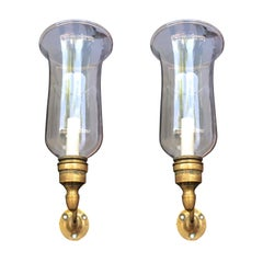 Pair of 19th Century George II Style Brass or Glass Hurricane Shade Sconces