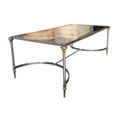Midcentury Brass and Steel Coffee Table Attributed to Maison Jansen