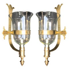 Pair of Brass and Glass Chapman Sconces, circa 1970s