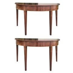 Pair of 18th-19th Century Georgian Mahogany Demilune Tables