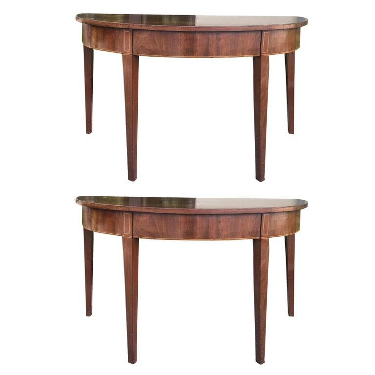 Pair of 18th-19th Century Georgian Mahogany Demilune Tables