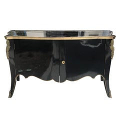 20th Century Black Lacquer and Bronze Cabinet, Louis XV Transitional