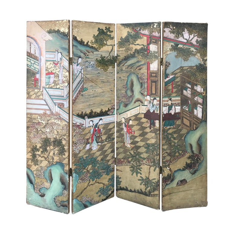 19th Century Antique Chinese Four-Panel Screen