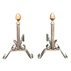 Pair of 19th Century American Iron and Brass Andirons with Acorn Finials