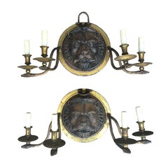 20th Century Pair of Large Scale Regency Style Iron and Brass Sconces