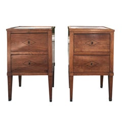 Pair of Italian Neoclassical Two-Drawer Bedside Commodes with Inset Marble