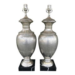Pair of 20th Century Large Italian Deco Style Silvered Urns as Lamps