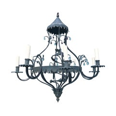 Charming MidCentury Iron Chandelier with Small Crystal Drops