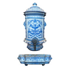 Early 19th Century Creil- Montereau French Blue & White Faience 3 Piece Lavabo