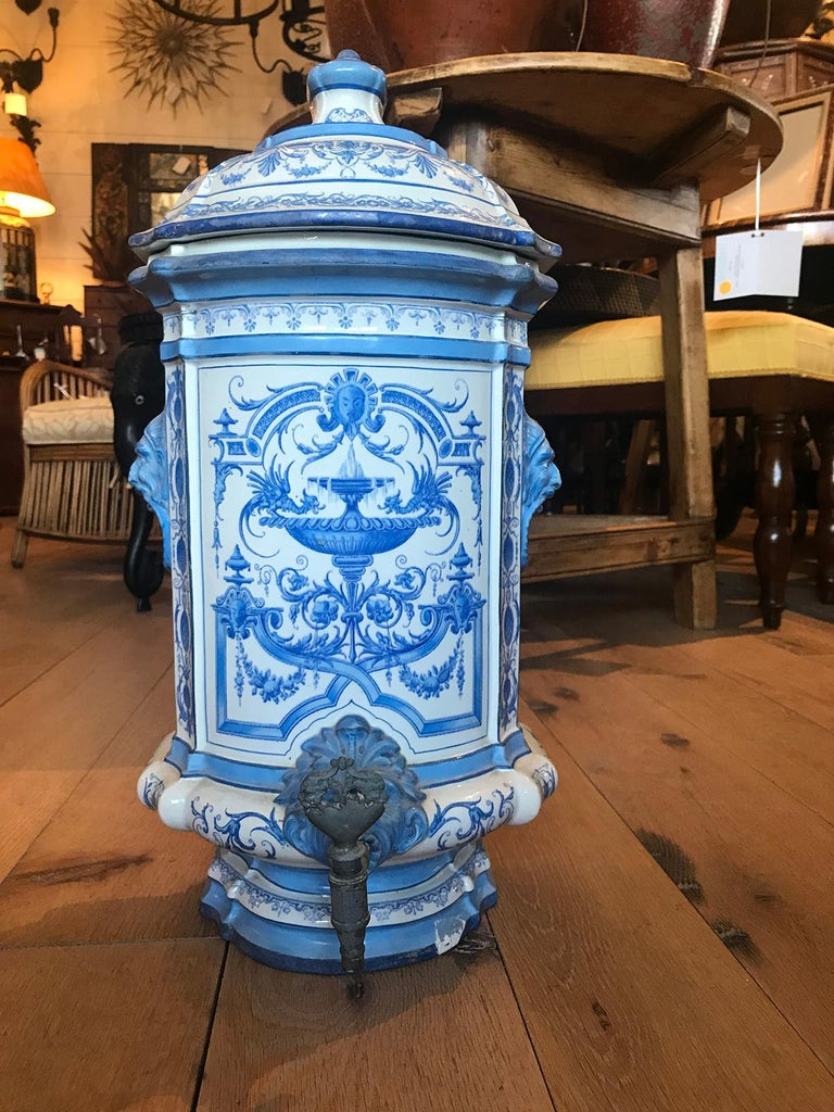 Early 19th Century Creil- Montereau French Blue & White Faience 3 Piece Lavabo- 10.5