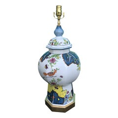 Italian Painted Porcelain Lamp, circa 1970s-1980s