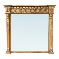 19th Century English Regency over the Mantle Mirror Featuring Lions