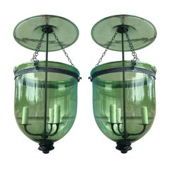 Rare Pair of Green 19th Century George I Style English Hanging Bell Jar Lanterns