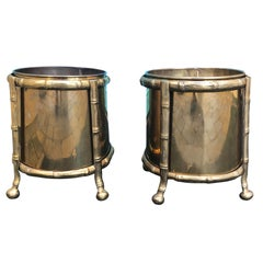 Pair of Midcentury Brass Cachepots with Faux Bamboo Holders