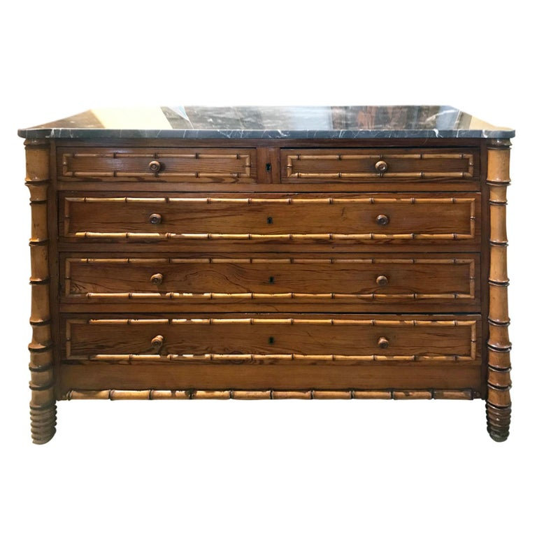 Late 19th Century French Bamboo Chest For Sale