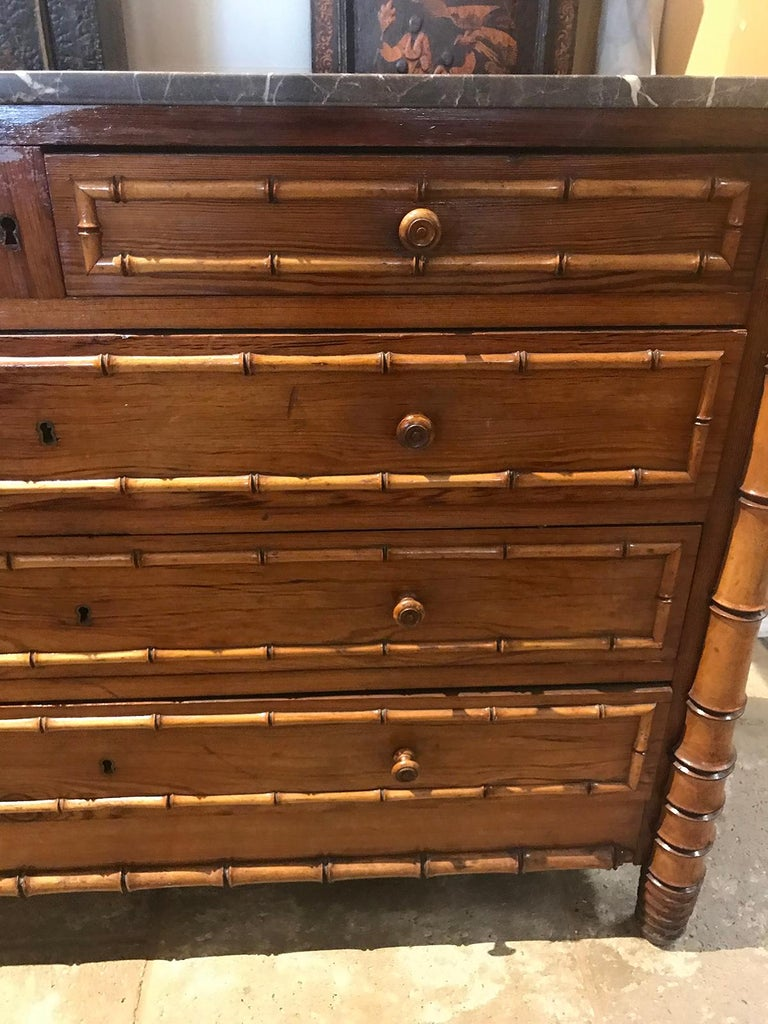 Late 19th Century French Bamboo Chest For Sale 5