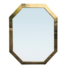 Midcentury Brass Mirror with Italian Label, Superior Quality