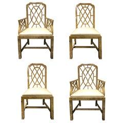 Set of 4 Bone Inlaid Chairs, circa 1960-1970
