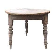 19th Century Round Pine Pub Table with Old Bleached Finish