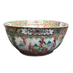 19th Century Chinese Export Rose Medallion Punch Bowl