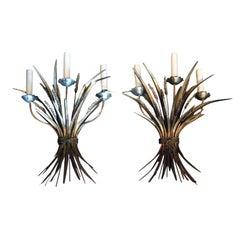 Pair of Midcentury Italian 3-Arm Tole Wheat Sconces