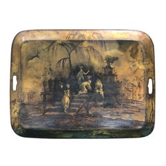 19th Century French Regency Chinoiserie Tole Tray of Garden Scene