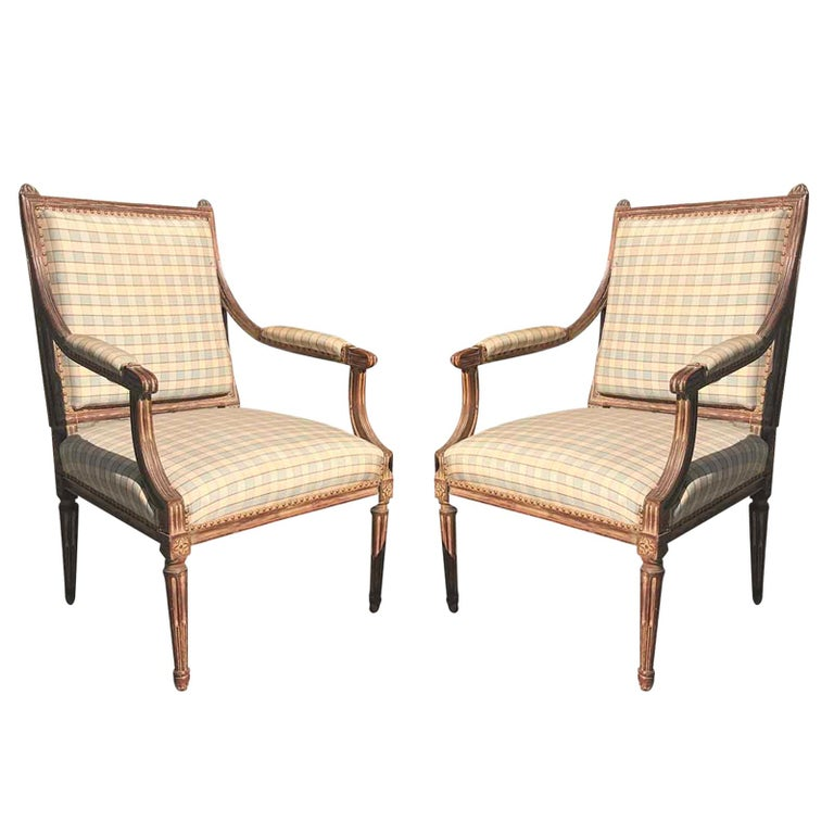 Pair of Late 19th-Early 20th Century Louis XVI Armchairs
