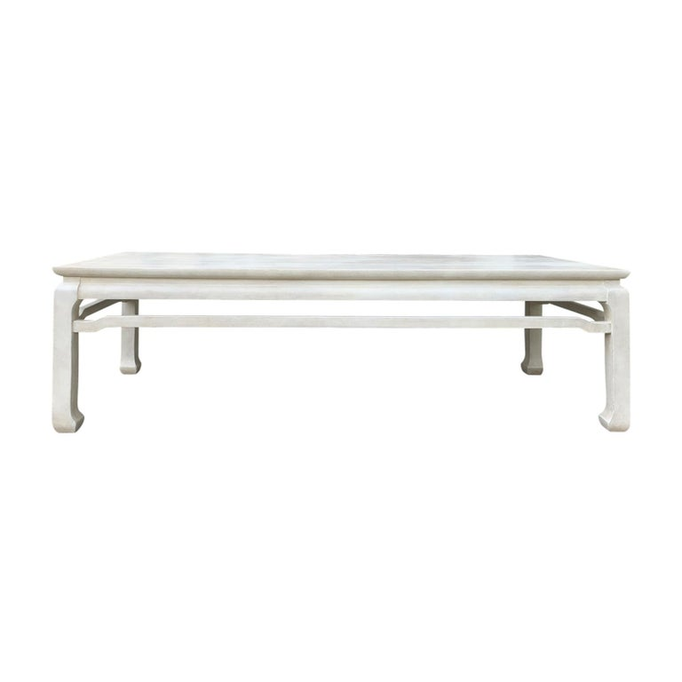20th Century Chinese Custom Painted Frosty White Coffee Table