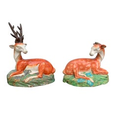 Pair of English Staffordshire Deer, Stag and Doe, circa 1820s