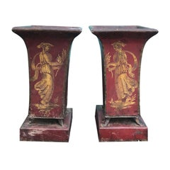 Pair of circa 1830s Red Tole Possibly Charles X Cachepots