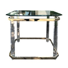 American Brass & Glass Side Table, Attributed to Charles Hollis Jones