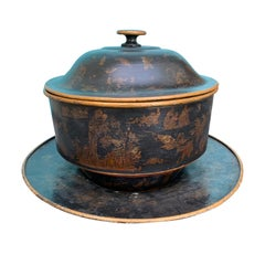 Rare 19th Century English Large Tole Chinoiserie Covered 3-Piece Punch Bowl