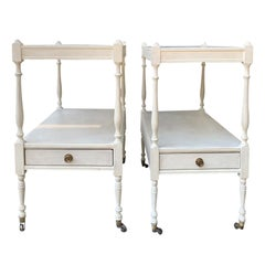 Pair of 20th Century Small Georgian Style Side Tables, Custom Painted