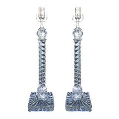 Pair of 19th Century Crystal Twist Lamps, Attributed to Baccarat