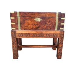 19th Century English Brass Trim Writing Box on Blind Fretwork Stand